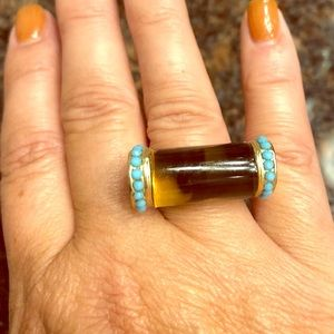 Tortoise Shell and Turquoise Look Statement Ring